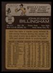 1973 Topps #89   Jack Billingham Back Thumbnail