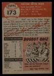 1953 Topps #173  Preston Ward  Back Thumbnail