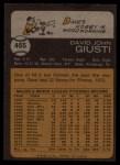 1973 Topps #465   Dave Giusti Back Thumbnail