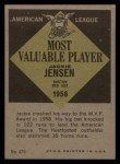 1961 Topps #476  Most Valuable Player  -  Jackie Jensen Back Thumbnail