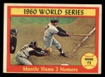 1961 Topps #307  1960 World Series - Game #2 - Mantle Slams 2 Homers  -  Mickey Mantle Front Thumbnail