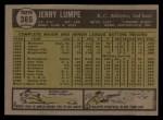 1961 Topps #365   Jerry Lumpe Back Thumbnail