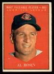 1961 Topps #474  Most Valuable Player  -  Al Rosen Front Thumbnail