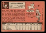 1969 Topps #296   Andy Messersmith Back Thumbnail
