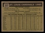 1961 Topps #347  Cardinals Team  Back Thumbnail