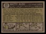 1961 Topps #327   Matty Alou Back Thumbnail