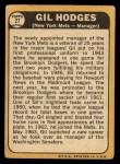 1968 Topps #27 ERR  Gil Hodges Back Thumbnail