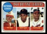 1969 Topps #2  1968 NL Batting Leaders  -  Pete Rose / Matty Alou / Felipe Alou Front Thumbnail