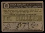 1961 Topps #499  Chuck Schilling  Back Thumbnail