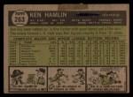 1961 Topps #263 COR Ken Hamlin  Back Thumbnail