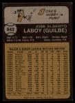 1973 Topps #642  Jose Laboy  Back Thumbnail
