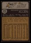 1973 Topps #310   Dick Allen Back Thumbnail