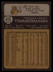 1973 Topps #413   Tom Timmermann Back Thumbnail