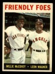 1964 Topps #41  Friendly Foes  -  Willie McCovey / Leon Wagner Front Thumbnail