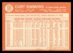 1964 Topps #385  Curt Simmons  Back Thumbnail