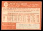 1964 Topps #275 ^COR^ John Tsitouris  Back Thumbnail