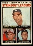 1964 Topps #5  1963 NL Strikeout Leaders  -  Sandy Koufax / Jim Maloney / Don Drysdale Front Thumbnail