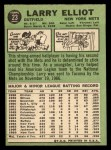 1967 Topps #23  Larry Elliot  Back Thumbnail