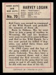 1966 Leaf Good Guys Bad Guys #70   Kid Curry Back Thumbnail