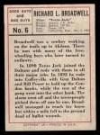 1966 Leaf Good Guys Bad Guys #6   Richard Broadwell Back Thumbnail