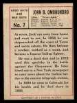 1966 Leaf Good Guys Bad Guys #7  Texas Jack  Back Thumbnail