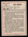 1966 Leaf Good Guys Bad Guys #29  Jim Bowie  Back Thumbnail