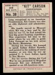 1966 Leaf Good Guys Bad Guys #38   Kit Carson Back Thumbnail