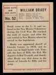 1966 Leaf Good Guys Bad Guys #52   William Brady Back Thumbnail