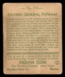1933 Goudey Indian Gum #173  Saving Gen. Putnam   Back Thumbnail