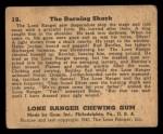 1940 Gum Inc. Lone Ranger #19  The Burning Shack  Back Thumbnail