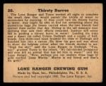 1940 Gum Inc. Lone Ranger #20   Thirsty Burros Back Thumbnail