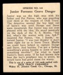 1931 Johnson Candy Dick Tracy #144   Junior Foresees Grave Danger Back Thumbnail