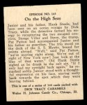 1931 Johnson Candy Dick Tracy #143   On the High Seas Back Thumbnail