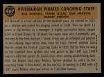 1960 Topps #467  Pirates Coaches  -  Bill Burwell / Frank Oceak / Sam Narron / Mickey Vernon Back Thumbnail