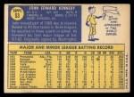 1970 Topps #53   John Kennedy Back Thumbnail
