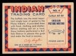 1959 Fleer Indian #4   Buffalo Dancer Back Thumbnail