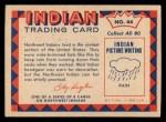 1959 Fleer Indian #44  Northwest Indian Rain Cap  Back Thumbnail