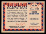 1959 Fleer Indian #50   Geronimo Back Thumbnail