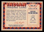 1959 Fleer Indian #40  Chief Halftown  Back Thumbnail