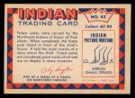 1959 Fleer Indian #43  Carving totem pole  Back Thumbnail
