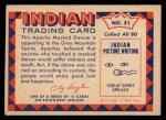 1959 Fleer Indian #51  Apache Masked Dancer  Back Thumbnail