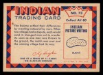 1959 Fleer Indian #73  Eskimo wrestling  Back Thumbnail