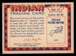 1959 Fleer Indian #15  Medicine Man  Back Thumbnail