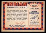 1959 Fleer Indian #21  Seminole Chickee  Back Thumbnail