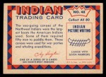 1959 Fleer Indian #48  Sea-going Canoe  Back Thumbnail