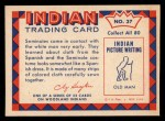 1959 Fleer Indian #37  Seminole man in costume  Back Thumbnail