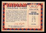 1959 Fleer Indian #10  Rabbit skin leggings  Back Thumbnail