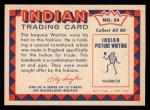 1959 Fleer Indian #34  Iroquois Warrior  -  Iroquois Warrior  Indian Back Thumbnail