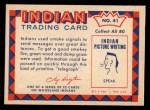 1959 Fleer Indian #41  Smoke Signals  Back Thumbnail
