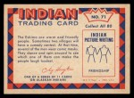 1959 Fleer Indian #71   Eskimo comedy mask Back Thumbnail